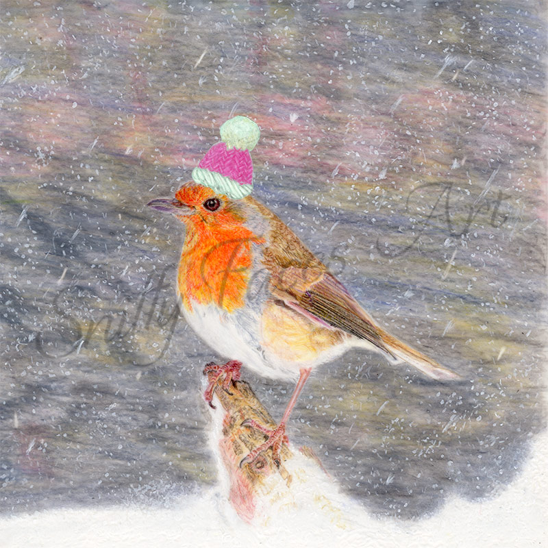 'Robin Pink Winter Hat' Card Sniffy Faces Art Shop