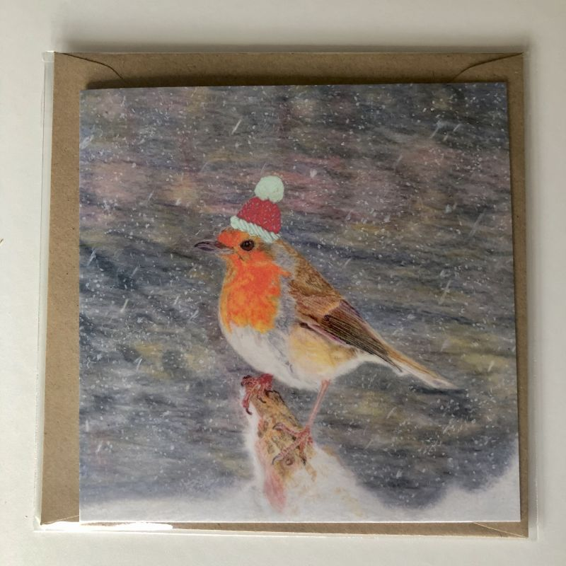 'Robin Red Winter Hat' Card
