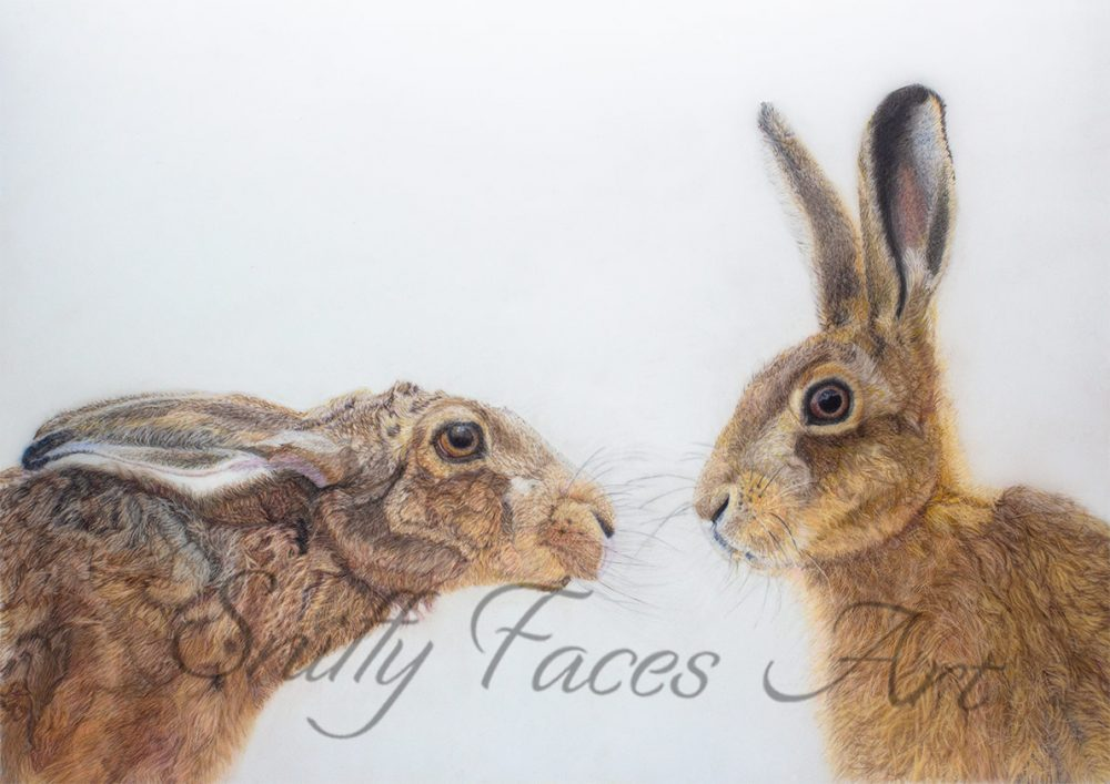'Kissing hares' Card